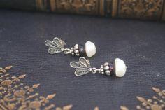 Wedding earrings pearl earrings bridal jewelry garnet Garnet Jewelry, Garnet Earrings, Sterling Silver Earrings, Silver Jewelry, Stud Earrings, Christmas Earrings, Christmas Jewelry, Pearl Earrings Wedding, Red Accessories