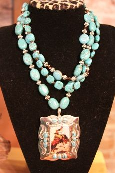 Turquoise Vintage Cowgirl Pendant-Turquoise Necklace  Vintage Cowgirl Pendant