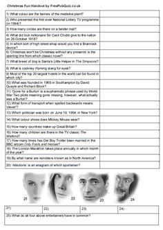 Free Quiz Handout perfect for a quick quiz or family fun get together. On a 'ready-to-print' sheet ' - just click and it's yours. Family Quiz Questions, Funny Quiz Questions, General Knowledge Quiz Questions, Trivia Questions And Answers, This Or That Questions, Christmas Quiz And Answers, Christmas Quiz Questions, Quiz With Answers, Christmas Trivia