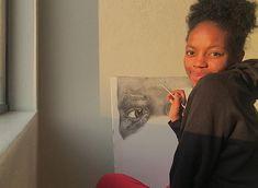 Girl sketching Graphite Realistic Sketch, Graphite, Art Sketches, Sketching, Selfie, T Shirts For Women, Fashion, Graffiti, Moda