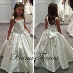 Wholesale Flowers Girl - Buy 2015 Gorgeous Ivory Little Flower Gril's Dresses with Lace-up Back PNINA TORNAI Beaded Birthday Girls Pageant Gowns Flower Girl Dresses, $76.34 | DHgate