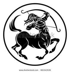 Illustration of Circle Sagittarius archer centaur horoscope astrology zodiac sign icon. vector art, clipart and stock vectors. Sagittarius Tattoo Designs, Zodiac Signs Sagittarius, Zodiac Horoscope, Archer Tattoo, Spartan Tattoo, Horoscope Tattoos, Tatoo Art, Art Logo, Mythical Creatures