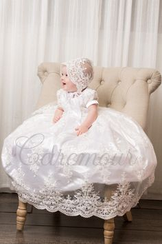 Hannah White Christening Baptism Girl Gown Formal Dress Wedding Baby Shower Gift