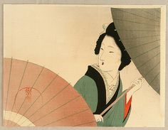 Beauty and Umbrella--Eisen Tomioka 1864-1905 #Eisen #Tomioka