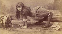The 12 Most Bizarre Attractions Of Old Freak Shows >> Just to show that the bizarre night creature on the road (see other photos) is probably a real person.