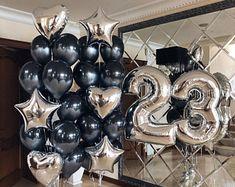 Silver Party Decorations, Birthday Balloon Decorations, 40th Birthday Balloons, Black And Gold Balloons, Happy 21st Birthday, 50 Birthday, Birthday Ideas, Balloon Bouquet, Balloon Cake