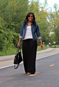 Simple spring outfit. Long black maxi skirt, white shirt and jean jacket.