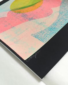 Detail of 'Landscape, of sorts' – Kate Gibb's first edition for Look Up: six-layer screen print on hot-pressed black Fabriano, from an exclusive limited edition of nine. NOW SOLD OUT. Silk Screen Printing, Screenprinting, Looking Up, Old And New, Geometry, Product Launch, Colour, Landscape, Detail