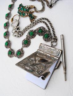 Art Nouveau Chatelaine Dance Card Notebook Emerald Silver Filigree Chain Rhinestone Bird Necklace.