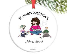 Preschool / Kindergarten  Teacher  Custom Ornament - Circle