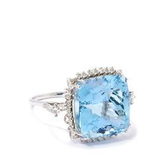 16.00ct Aquamarine and Diamond 18k White Gold Ring | Gemporia