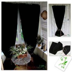 Oryginal natural black curtains. Decorated with rope. Beautiful window decoration. Perfect for rustic, vintage, chabby chic and cottage  interior. Made of natural cotton blend fabric with linen and elana