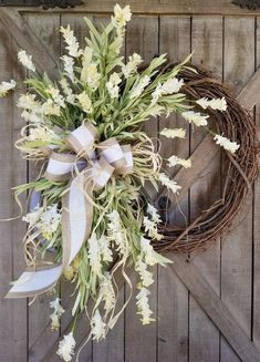 Front door wreaths, Summer wreaths, Home Decor wreaths, Wreath Great for All Year Round - Everyday Wreath, Cream floral Wreath - 22 Front door wreaths Summer wreaths Home Decor Summer Door Wreaths, Wreaths For Front Door, Spring Wreaths, Holiday Wreaths, Winter Wreaths, Thanksgiving Wreaths, Front Porch, D House, Wedding Wreaths