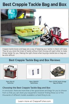 Best Crappie Tackle Bag and Box: Crappie tackle boxes have foldable trays inside them that are used to store different types of tackle. Before selecting a specific box to purchase, make sure that its trays are worm proof so that the plastic baits don't melt and fuse together. Crappie Fishing Tips, Fishing Kit, Fishing Tackle Box, Ice Fishing, Tackle Bags, Carp, Bobber, Trays, Fisher