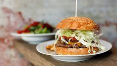 Linden: Ohnesorg Burger Bar great handmade Burgers, sweet potatoe fries
