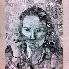 Chuck close inspired- this is a self portrait done by meticulously copying the value of a black and white picture. High School Art, Middle School Art, Chuck Close Art, Art Lesson Plans, Black And White Pictures, Gravure, Teaching Art, Art Studios, Art Education