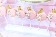 Princess crown macaron pops from a Magical Princess Birthday Party on Kara's Party Ideas | KarasPartyIdeas.com (6)