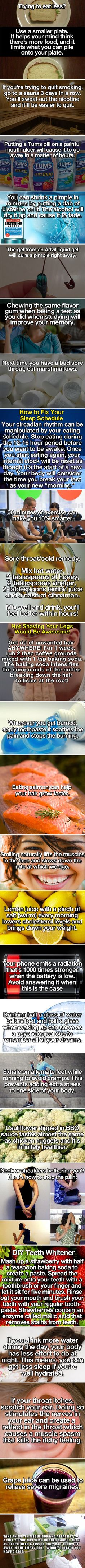 some creative and useful life health hacks