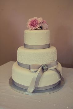 Traditional hand piped wedding cake.
