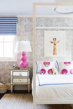 Lovely bedroom. Great pink and navy combo