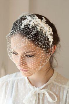 **I like everything EXCEPT the full veil** Lace birdcage veil with Swarovski pearls, full birdcage veil with beaded lace, Wedding Veil Wedding Hats, Wedding Veils, Lace Wedding, Wedding Dresses, Bridal Hat, Bridal Headpieces, Marriage Jewellery, Kebaya Wedding, Vintage Veils