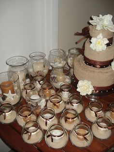 centerpiece and favors for beach theme