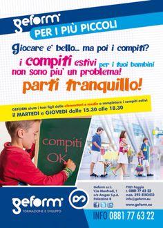 I compiti per l'estate non sono più un problema! Parti tranquillo, Geform aiuta i tuoi figli delle elementari e medie con i compiti per le vacanze! http://geform.eu/corsi/COMPITI-PER-LESTATE-OK-993