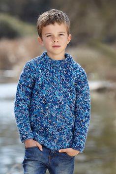 boys kids big wool merino chunky sweater, photo from sirdar knitting pattern, fuzzy fluffy childs childrens