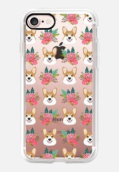 Casetify iPhone 7 Classic Grip Case - corgis floral cell phone transparent iPhone tech accessories must have welsh corgi gift ideas by Pet Friendly #Casetify