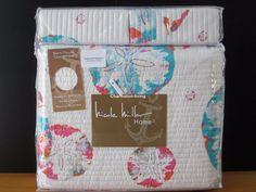 Nicole Miller Coastal 3pc F Q Quilt Set Blue Aqua Pink Sand Dollar Tropical Beac | eBay