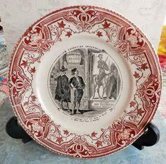 Assiette ancienne, Exposition Universelle, Espagne, Don quichotte