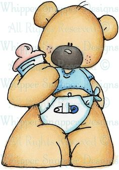 Baby Boy Bear - Bears - Animals - Rubber Stamps - Shop
