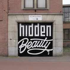 Love this logo and entrance of an art exhibit held in Eindhoven, Netherlands this past summer. Hidden Beauty aimed to showcase street art as more than graffiti. The logo was painted by artists Sektie and Zime. Hair Salon Names, Beauty Salon Names, Graffiti Artwork, Typography Love, Typography Inspiration, Hidden Beauty, Beauty Bar, True Beauty, Amazing Street Art