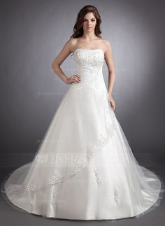Wedding Dresses - $193.79 - Ball-Gown Sweetheart Chapel Train Satin Tulle Wedding Dress With Lace Beadwork (002011511) http://jjshouse.com/Ball-Gown-Sweetheart-Chapel-Train-Satin-Tulle-Wedding-Dress-With-Lace-Beadwork-002011511-g11511