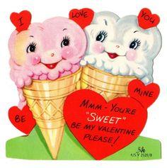 **FREE ViNTaGE DiGiTaL STaMPS**: Free Vintage Downloads - More Retro Valentines  Pink Ice Cream Cone