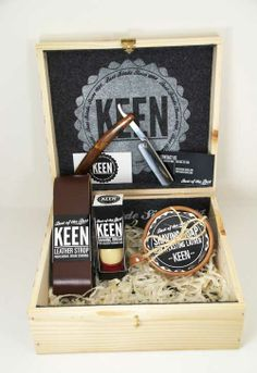 "Keen soap packaging design  ""An old fashion shaving kit. One that would include a straight blade razor, leather sharpening strop, silver tip badger hair shaving brush, a shaving cream soap bar, and a mug."""