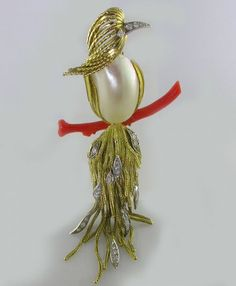 Pierre Sterle Pearl and diamond Vintage bird pin