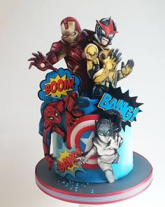 Marvel cake, batman cakes, cookies and cream cake, chalkboard cake, superhe Marvel Avengers, Marvel Cake, Batman Cakes, Fondant Cakes, Cupcake Cakes, Avengers Birthday Cakes, Cake Birthday, Nake Cake, Avenger Cake
