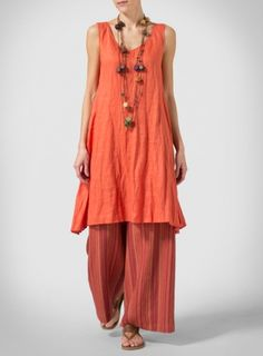 Orange Linen Sleeveless Crumple Effect Long Blouse