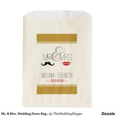 Mr. & Mrs. Wedding Favor Bag | Gold Mr And Mrs Wedding, Wedding Favor Bags, Party Themes, Create, Prints, Red, Printmaking