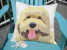 "Dog pillow Goldendoodle 20"" Labradoodle outdoor dog pet canine buff retriever poodle nonallergenic guide dog Crabby Chris Original"