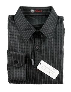 BURDI Black Melange Striped Spread Collar Slim Fit     Find yours! http://www.frieschskys.com/all-shirts/dress-shirts     #frieschskys #mensfashion #fashion #mensstyle #style #moda #menswear #dapper #stylish #MadeInItaly #Italy #couture #highfashion #designer #shopping
