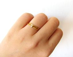 Thin Wedding Ring Set - Gold Pearl Ring - Engagement Ring - 22k Solid Gold. $390.00, via Etsy.