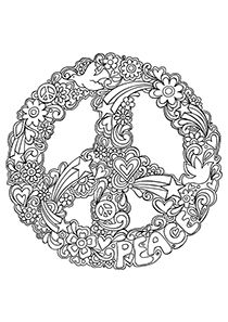 Psychedelic Coloring Pages | Free Printable Peace Sign Coloring Pages