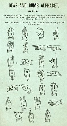 "vintage asl alphabet card.  ""deaf and dumb"".  oy.  the 'x' and the 'r' are in a strange orientation, other than that, it's still the same today."