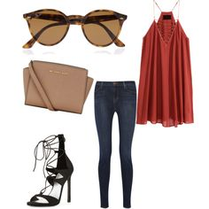 Untitled #395 by evanmonster on Polyvore featuring polyvore fashion style H&M J Brand Stuart Weitzman MICHAEL Michael Kors Ray-Ban