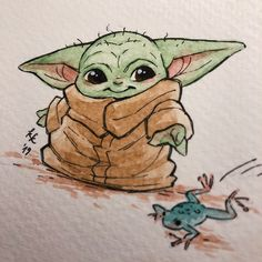 カタ — My collegue loves baby yoda so much I painted her. Disney Babys, Cute Disney, Disney Art, Star Wars Fan Art, Disney Drawings, Cute Drawings, Yoda Gif, Yoda Images, Star Wars Zeichnungen
