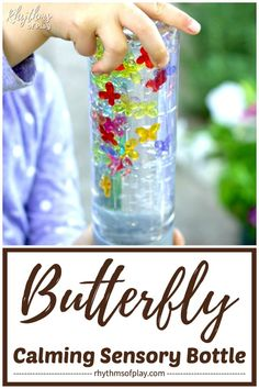 Both children and adults will love this butterfly sensory bottle. Calm down bottles or jars like this are most often used to help soothe an overwhelmed child and as a meditation technique for kids. Calm Down Jar, Calm Down Bottle, Sensory Bottles Preschool, Sensory Bags, Sensory Play Recipes, Baby Sensory Play, Craft Projects For Kids, Craft Activities For Kids, Diy Projects