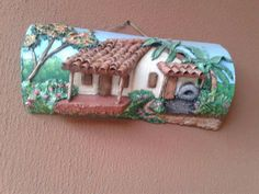 Pin on Copii Rock Crafts, Diy And Crafts, Clay Wall Art, Doll House Crafts, Bamboo Art, Clay Art Projects, Wine Bottle Art, Clay Houses, Crafts With Pictures