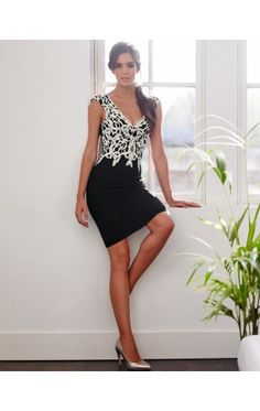 75052e08 Lipsy Applique Contrasting Black Lace Dress – The Laguna Room Lipsy Lace  Dress, White Sleeveless
